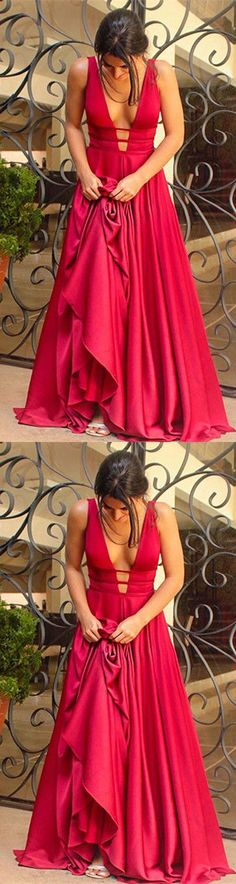 A-line red long prom dress, 2018 prom dress, gorgeous v neck A line red long evening dress party dress P3148