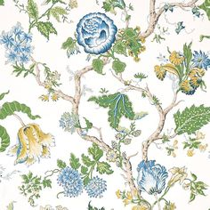 """Schumacher Josephine 30' L x 27"""" W 10-Panel Wallpaper Roll   Perigold Foyer Wallpaper, Wallpaper Roll, Schumacher, The Incredibles, Floral, Prints, 19th Century, Tennessee, Fabric Design"""