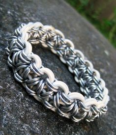 Silver and White Thick Chainmaille Bracelet. $18.00 USD, via Etsy.