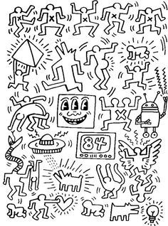 To print this free coloring page «coloring-adult-keith-haring-7», click on the printer icon at the right