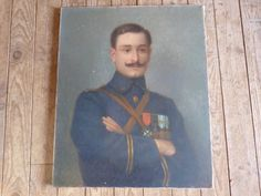 Antique French military portrait painting LARGE signed WW2 militaria infantry oil painting mens portrait painting art French home decor by MyFrenchAntiqueShop on Etsy
