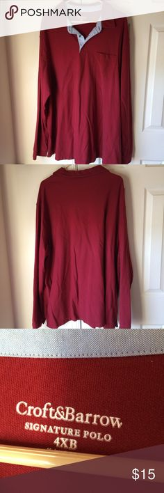 Croft & Barrow signature polo Deep red long sleeve polo in great condition from a smoke free and dog friendly home.  Very comfortable! 100% cotton. croft & barrow Shirts Polos