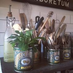 Golden Syrup tins filled with primroses and kitchen cutlery Kitchen Cutlery, Kitchen Dining, Dining Room, Tin Can Alley, Primroses, Golden Syrup, White Houses, Kitchen Gadgets, Home Kitchens
