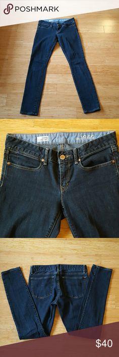 Gap Always Skinny Jeans Very flattering dark wash, premium 1969 addition of always Skinny jeans.  Good stretch. Like new condition. GAP Jeans Skinny