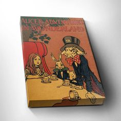 Alice in Wonderland Vintage Canvas Print, Literary Gift Idea, Classic Book Cover, First Edition Book, Canvas Art, FREE SHIPPING