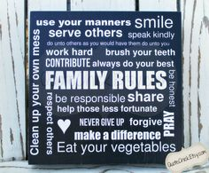 Family rules, small sign