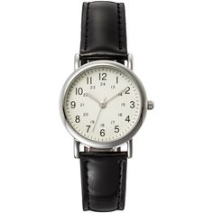Women's Analog Watch with Faux Leather Straps - Black ($11) ❤ liked on Polyvore featuring jewelry, watches, black wrist watch, analog watches, kohl jewelry, fossil watches and fossil jewelry