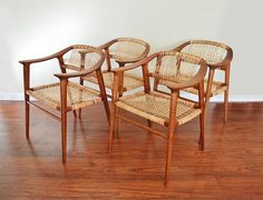 """Bambi"" Chairs designed by Rolf Rastad & Adolf Relling for Gustav Bahus in the 1950's. An iconic Norwegian design, these chairs are crafted with solid teak wood & woven cane,..."