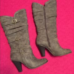 Taupe mid calf boots Worn a handful of times. Still in perfect shape. Heel is about 3 inches. JustFab Shoes