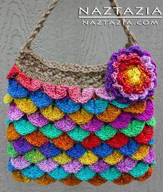 Here's a fun crochet blog:  Naztazia.com  (crochet crocodile stitch purse dragon scale mermaid tears bag in photo)