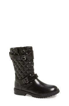 Cole Haan 'Jan' Quilted Shaft Moto Boot (Little Kid & Big Kid) Black Size 3 M on Vein - getVein.com