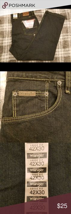 MENS GENUINE WRANGLER PREMIUM DENIM JEANS 42X30 Item Specifications: Condition: NWT-New with tags Size: 42X30 Color: Blue Denim Material: 100% Cotton Care: Machine wash cold, tumble dry low Wrangler Jeans Relaxed