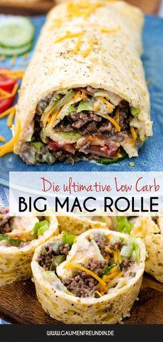 Die beste Low Carb Big Mac Rolle aller Zeiten - mit würzigem Hackfleisch, Cheddar, Tomaten, Gurken und Salat - ein Low Carb Rezept für die ganze Familie - Gaumenfreundin Foodblog #lowcarb #lowcarbrezepte #gauenfreundin #bigmacrolle #bigmacwrap #healthy #wwrezepte #ww #lchf #hackfleisch #rezept #cheddar Keto Veggie Recipes, Low Carb Recipes, Healthy Recipes, Recipes For Beginners, Great Recipes, Dinner Recipes, Big Mac, Food Presentation, Food Porn