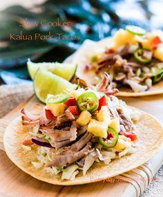 Slow Cooker Kalua Pork Tacos— Hawaii in your Crockpot!