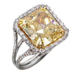 9.57ct Fancy Yellow Radiant Diamond and Platinum Ring | From a unique collection of vintage wedding rings at https://www.1stdibs.com/jewelry/rings/wedding-rings/