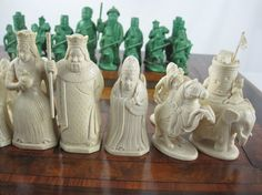 Chinese Green and White Ivory Set in English Motif, 19th Century