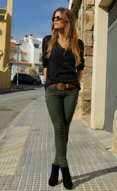 The olive pants are great. Like the shape of the top but don't like black near my face.  I always half tuck my shirts and sweaters.