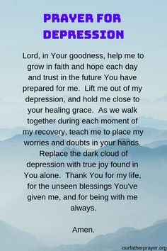 God and Jesus Christ:prayer for depression Prayer Scriptures, Bible Prayers, Faith Prayer, God Prayer, Catholic Prayers Daily, Healing Prayer, Miracle Prayer, Catholic Prayer For Healing, Forgiveness Prayer