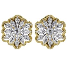 Buccellati Cassiopeia Design Open Work Diamond Two Color Gold Clip Earrings | From a unique collection of vintage clip-on earrings at https://www.1stdibs.com/jewelry/earrings/clip-on-earrings/