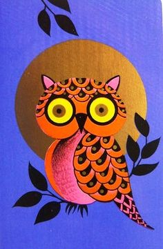 lovely vintage 70's owl (artist unknown)