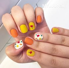 Nice Nail Designs To Do At Home. Nail designs or nail art is a very basic principle - patterns or art that is utilized to decorate the finger or toe nails. They are utilized predominately to improve a dressing up or add light to a day to day look. Yellow Nails Design, Yellow Nail Art, White Nail Art, White Nails, White Art, Orange Nail, Blue Nail, Orange Yellow, White White