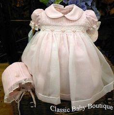 Will'beth Girls Pink Sheer Overlay Rose Smocked Dress with Bonnet Preemie Newborn 3 6 9 Months