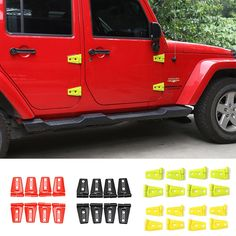 62.70$  Watch here - http://aliblh.worldwells.pw/go.php?t=32655612599 - 8 PCS/Set 4 Doors New Arrival Car Accessories ABS Plastic Door Hinge Covers for Jeep Wrangler 2007 up 4 Colors