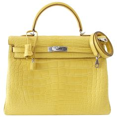 Hermes Kelly 35 Retourne Bag MIMOSA Matte Alligator Palladium Hardware Rare