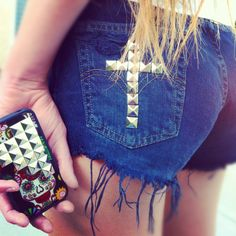 Handmade studded shorts by Michelle and Sugar skull pyramid Wildflower case! <3