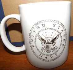 United States Navy Large White Gold Emblem Coffee Tea Mug Cup