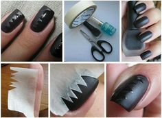 Black and white nail art tutorial, tutorials, Matte Free Hand Scotch tape DIY decal decals Technique