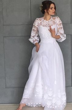 This Pin was discovered by gor Elegant Dresses, Vintage Dresses, Beautiful Dresses, Nice Dresses, Dresses With Sleeves, Formal Dresses, Boho Wedding Dress, Wedding Gowns, Ethno Style