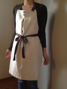Front Tie Linen Apron natural x brown by StudioMilkee on Etsy