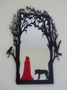 Little Red Riding Hood: Fairytale Mirror by Red Riding Hood, Illustration, Drawings, Art Projects, Painting, Art, Believe In Magic, Shadow Puppets, Fairytale Art
