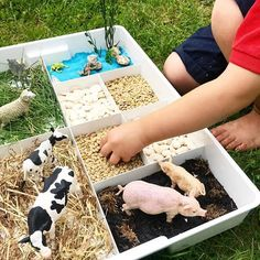 SENSORY FARMYARD TRAY I'm loving this partitioned tray for small world play and creative art prompts at the moment! It's another Ikea… Toddler Learning Activities, Montessori Activities, Infant Activities, Kids Learning, Montessori Toddler Rooms, Toddler Activity Board, Animal Activities For Kids, 3 Year Old Activities, Montessori Playroom