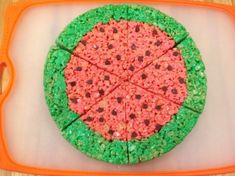 Give the ever popular rice cereal treats a summertime look. This is a guide about Rice Krispy treat watermelon slices. Cereal Treats, Rice Cereal, Rice Krispie Treats, Rice Krispies, First Birthday Themes, 2nd Birthday, First Birthdays, Watermelon Birthday Parties, Food Art For Kids