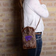 Gameday Kansas State Ladies Leather Crossbody Bag - Brass $69.00 #GamedayBoots #Womens #GameDayCrossbodyBags #unspokenfashion #fashion #onlineshopping #boutique #stylish #trending #clothing #shoes #handbags #corsets #costumes