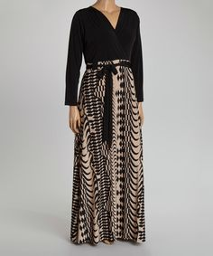 Love this Tan & Black Geo Surplice Maxi Dress - Plus on #zulily! #zulilyfinds
