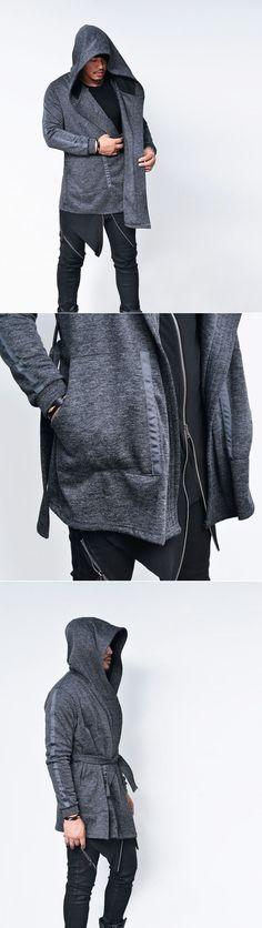 Outerwear :: Belted Big Hood Taping Arm Cape Jacket-Cardigan 140 - GUYLOOK Men's…