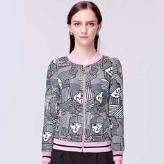 womens geometric bomber jacket face design XL