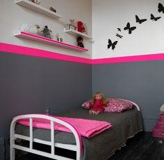 deco chambre petite fille rose - Peinture Gris Et Rose Pour Chambre