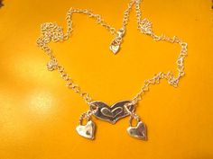 """Check out OOAK - All Sterling Silver """"Wow"""" 4-Heart Pendant Artisan Handmade & Hand Forged Necklace w/Delicate Sterling Heart Link Chain on theunitgal"""