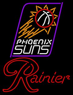 Rainier Phoenix Suns NBA Neon Beer Sign, Rainier with NBA | Beer with Sports Signs. Makes a great gift. High impact, eye catching, real glass tube neon sign. In stock. Ships in 5 days or less. Brand New Indoor Neon Sign. Neon Tube thickness is 9MM. All Neon Signs have 1 year warranty and 0% breakage guarantee.