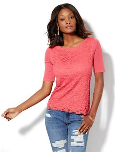 Shop Lace Overlay Bateau-Neck Tee . Find your perfect size online at the best price at New York & Company.