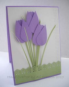 tulips with punch heart- looks like teeny heart punch and bird wing punch were used to make tulips - thin strips/paper for stem- love it! The House at Pooh Corner: Punched Tulips card - how to by Ali Watson Ali Watson Creations : My Punched Tulips Tutoria Flower Cards, Paper Flowers, Craft Flowers, Tarjetas Diy, Punch Art Cards, Paper Punch, Mothers Day Crafts, Spring Crafts, Creative Cards