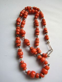 FINE VICTORIAN NATURAL RED CORAL BEADS NECKLACE