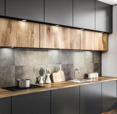 68 Best Elegant Contemporary Kitchen Decor Ideas New Home Decor 2019 Se . - 68 best elegant contemporary kitchen decor ideas new home decor 2019 page 38 Kitchen Room Design, Kitchen Cabinet Colors, Home Decor Kitchen, Rustic Kitchen, Interior Design Kitchen, Home Kitchens, Kitchen Ideas, Kitchen Modern, Black Kitchens