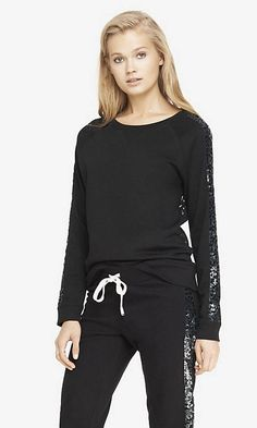 LACE BACK SEQUIN SLEEVE SWEATSHIRT | Express