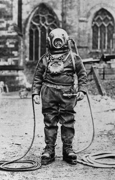 The Diver at Winchester Cathedral. The Diver at Winchester Cathedral. Diving Helmet, Diving Suit, Sea Diving, Diver Down, Deep Sea Diver, Scuba Diving Equipment, Under The Sea Theme, Sea Creatures, Winchester