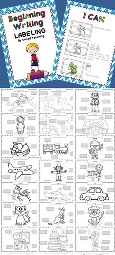 Beginning Writing - Labeling cut and paste worksheets. Includes I Can poster so children can work independently for literacy centers.